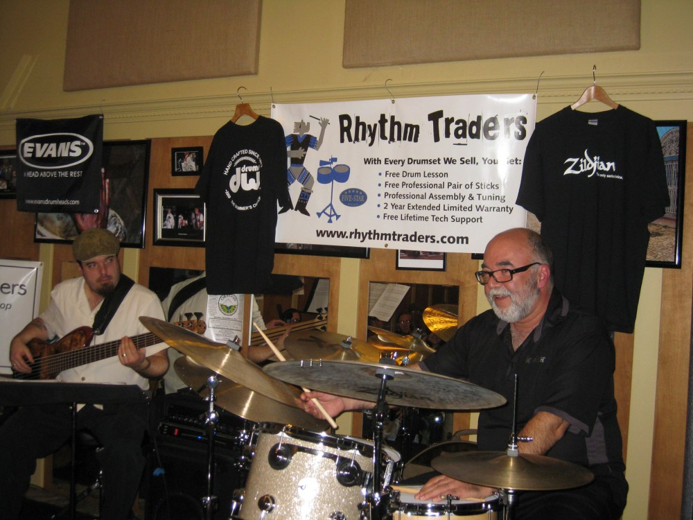 A Photo of Peter Erskine from his 2011 drum set clinic at Rhythm Traders