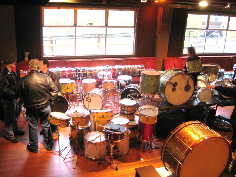 A photo of some of the vintage gear at the 2011 Portland Drum Fair