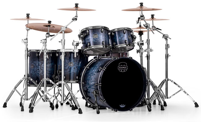 Photo of Saturn IV MH Exotic Drum Set, Deep Water Ash Burl finish