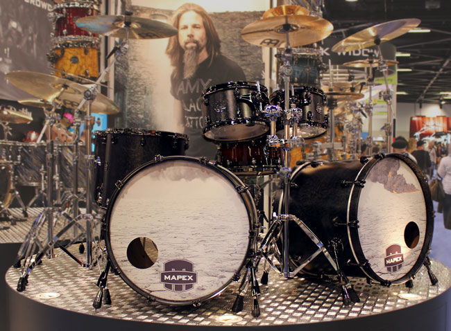 Photo of Mapex Saturn IV MH Exotic Drum Set in Satin Black Maple Burl finish, NAMM 2013
